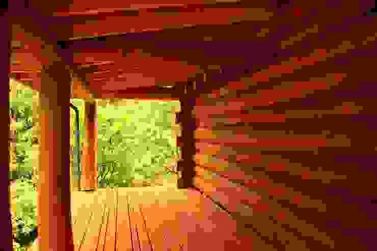 Organica Design & Build Balcones y terrazas de estilo rústico Madera Marrón