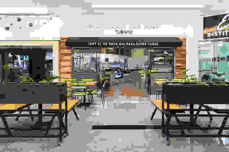 FFF Santa Fé - Fachada Gastronomía de estilo moderno de MX Taller de Arquitectura & Diseño Moderno Madera Acabado en madera