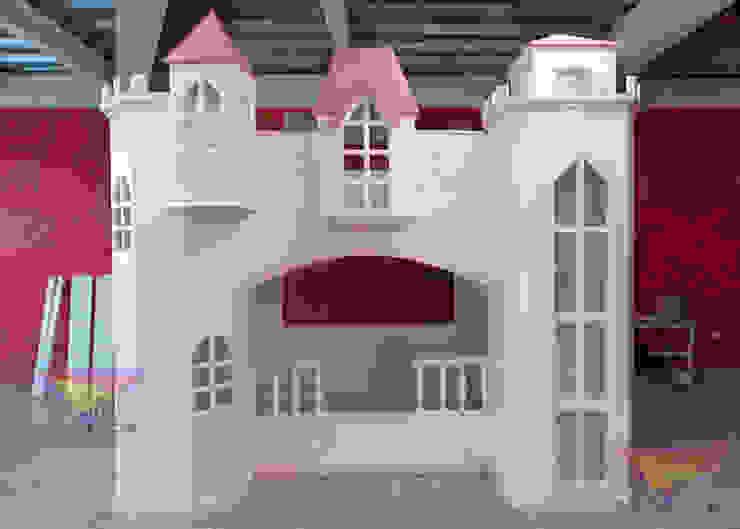 Precioso castillo exquisito de camas y literas infantiles kids world Clásico Derivados de madera Transparente