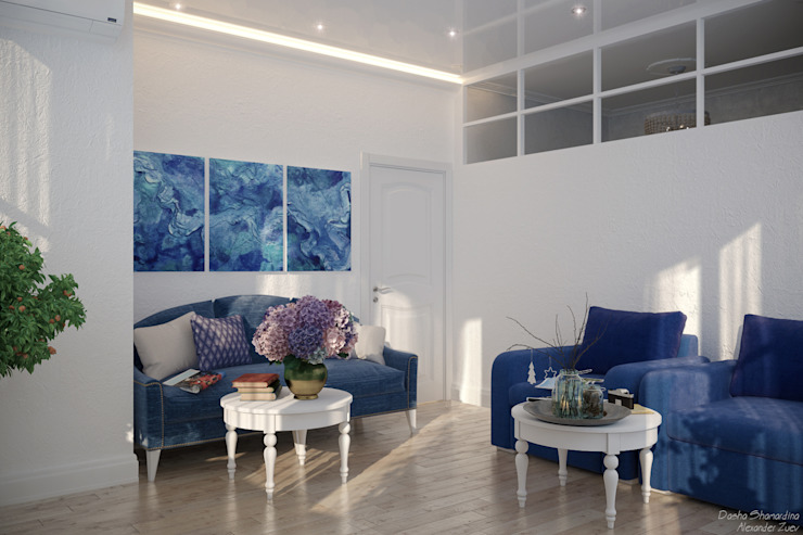 Дизайн квартиры на берегу Черного моря Гостиная в средиземноморском стиле от Студия интерьерного дизайна happy.design Средиземноморский