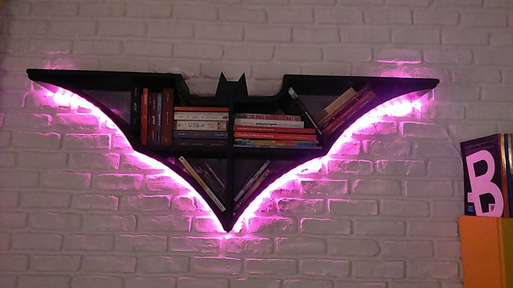 Batman shelf: حديث  تنفيذ Marwa Hasan,حداثي خشب Wood effect
