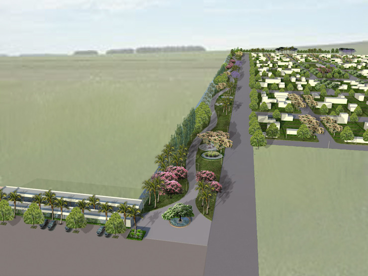Proyecto de Forestacion Barrio Cerrado y centro comercial Jardines clásicos de BAIRES GREEN Clásico