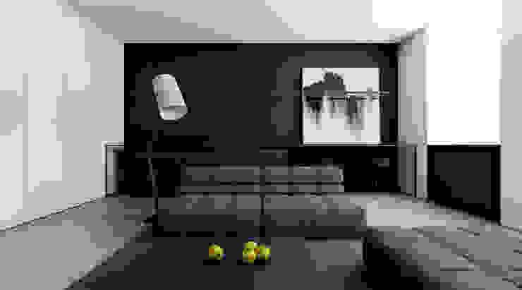 MIESZKANIE W ŁODZI: styl , w kategorii Salon zaprojektowany przez INUTI,Minimalistyczny Beton