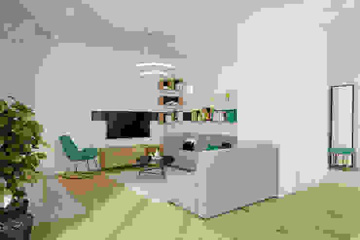 现代客厅設計點子、靈感 & 圖片 根據 INSIDEarch 現代風