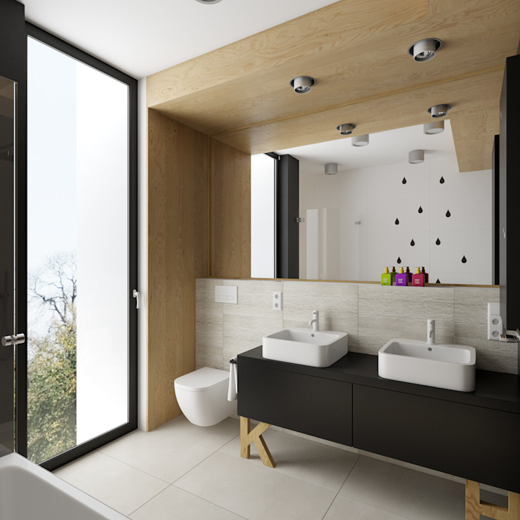 dom jednorodzinny 220 mkw: styl , w kategorii Łazienka zaprojektowany przez INSIDEarch,Nowoczesny