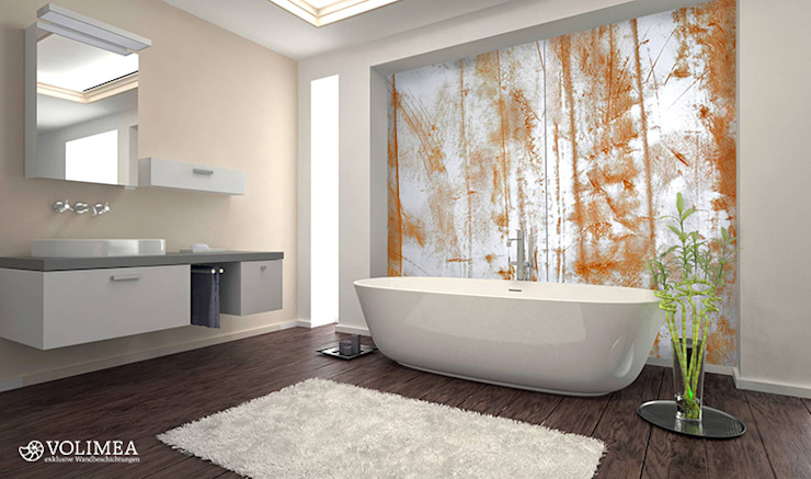 Wandwerk BY VOLIMEA 9006 Rost Cortenstahl Volimea GmbH & Cie KG Industriale Badezimmer Kalkstein Metallic/Silber