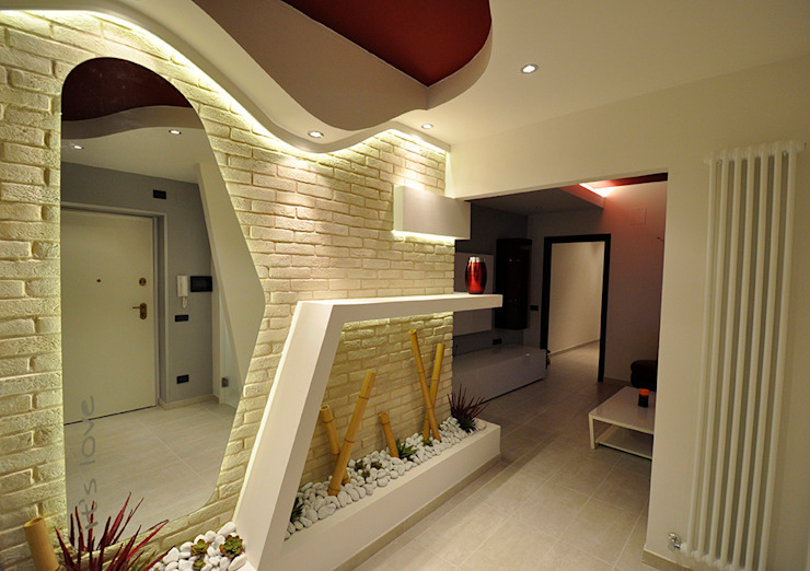 Officina design Modern corridor, hallway & stairs Stone White