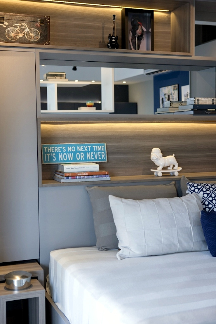 Michelle Machado Arquitetura 臥室床與床頭櫃 木頭 Grey