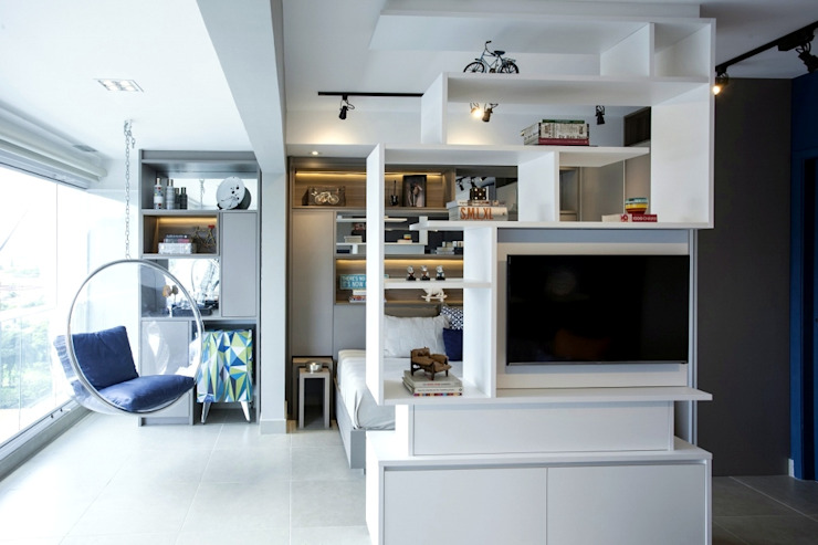 Integração Salas de estar escandinavas por Michelle Machado Arquitetura Escandinavo MDF