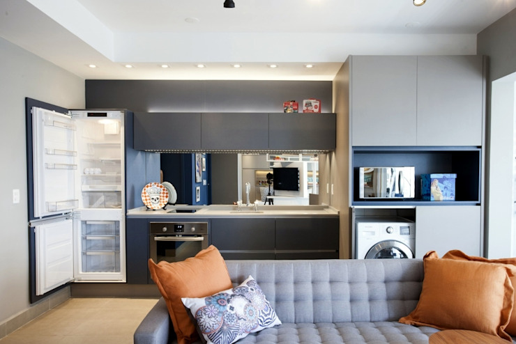 Michelle Machado Arquitetura 廚房收納櫃與書櫃 石英 Grey