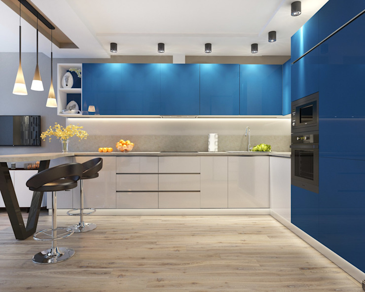 2 к.кв. в ЖК Атлант для двух сестер (68 кв.м) Кухни в эклектичном стиле от ДизайнМастер Эклектичный