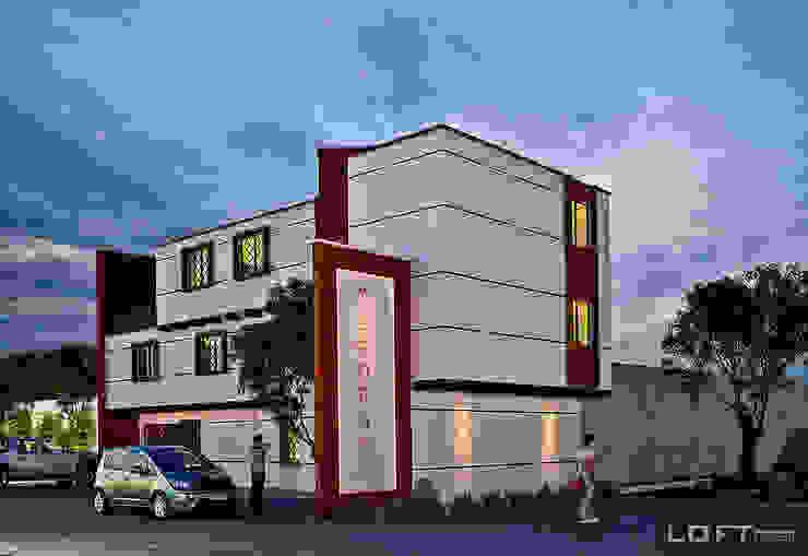 Fachada Casas eclécticas de LOFT ESTUDIO arquitectura y diseño Ecléctico Ladrillos