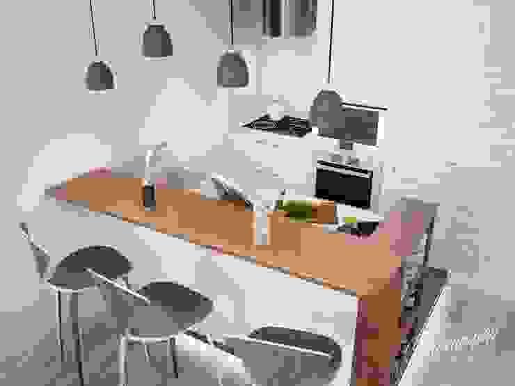 Дизайн интерьера маленькой кухни-гостиной Студия Инстильер | Studio Instilier Кухня в скандинавском стиле Белый