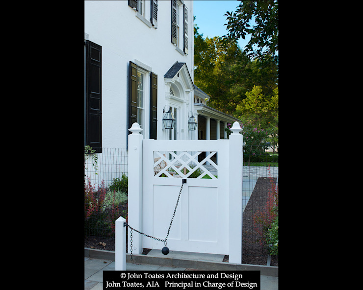 Gate with Cannonball Closure John Toates Architecture and Design Classic style houses White