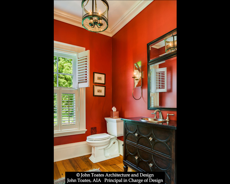 Powder Room John Toates Architecture and Design Classic style bathrooms Red
