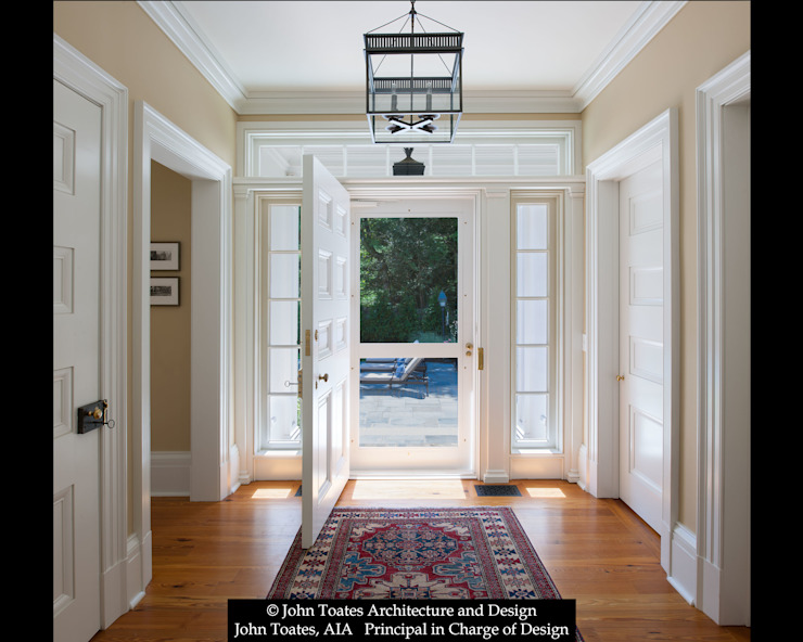 Family Entry John Toates Architecture and Design Classic corridor, hallway & stairs White