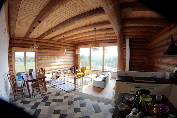 Organica Design & Build Salas de estilo rústico Madera Marrón
