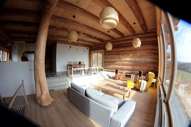 Living room by Organica Design & Build, Rustic Wood Wood effect
