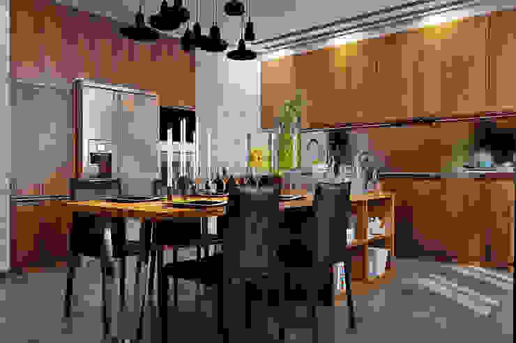 Cuisine industrielle par Студия дизайна Interior Design IDEAS Industriel Bois Effet bois