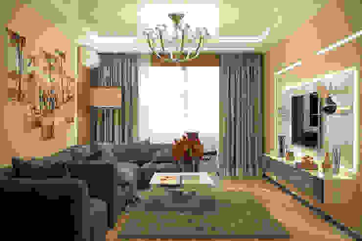 Дизайн гостиной в ЖК по ул. Казбекская Гостиная в стиле модерн от Студия интерьерного дизайна happy.design Модерн