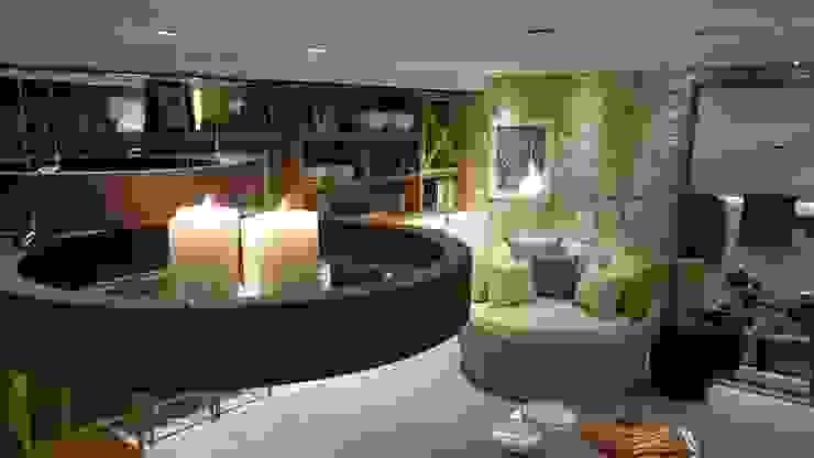 Tropical style living room by Lucio Nocito Arquitetura e Design de Interiores Tropical Iron/Steel