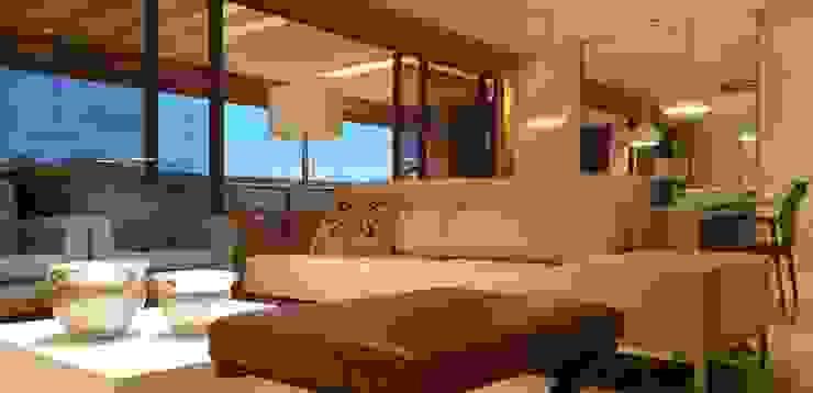 Mediterranean style living room by Lucio Nocito Arquitetura e Design de Interiores Mediterranean Engineered Wood Transparent