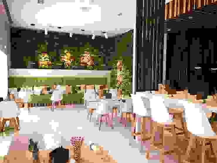 Pine Cliffs Restaurante ZEST por ECOSSISTEMAS; Áreas Verdes e Sistemas de Rega. Moderno Algodão Vermelho