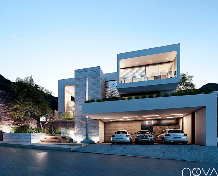 Fachada principal homify Casas modernas