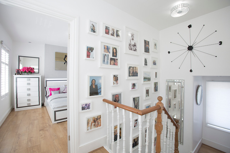 Hall & Stairs After - Use hall wall as a family picture gallery - perfect! Millennium Interior Designers