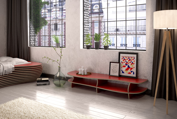 TV-Lowboard Red Carpet: modern  von form.bar,Modern Holzwerkstoff Transparent
