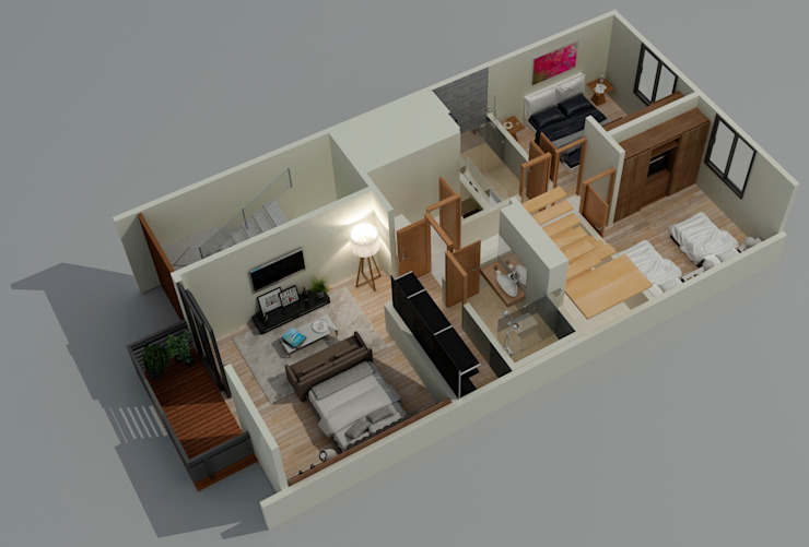Planta Baja Dormitorios modernos de Citlali Villarreal Interiorismo & Diseño Moderno