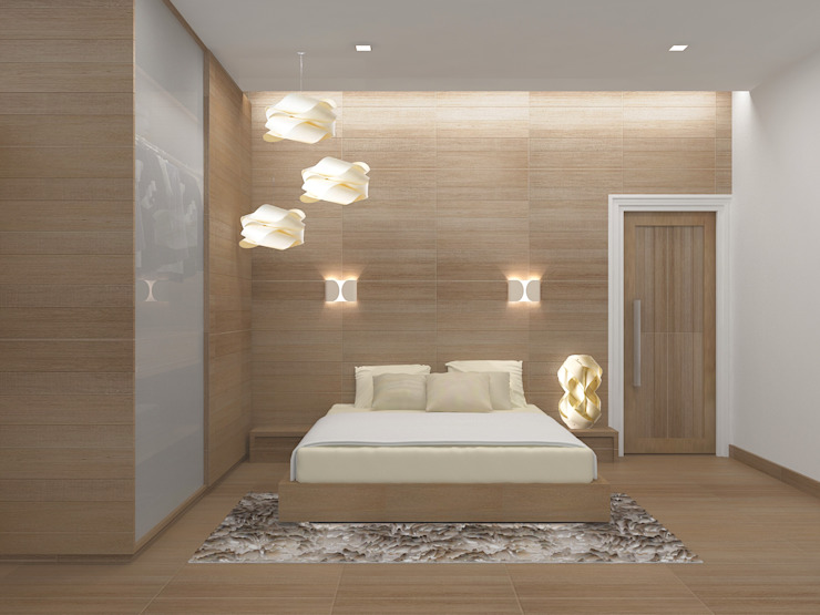 VILLA AT THIRUVANMALAI Modern style bedroom by De Panache - Interior Architects Modern Plywood