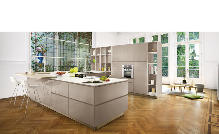 High Gloss Open Plan Kitchen Schmidt Kitchens Barnet ห้องครัว แผ่น MDF Beige