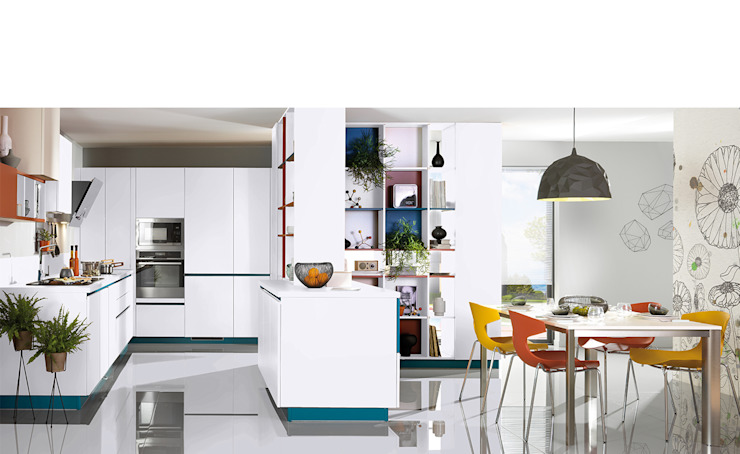 Modern, contemporary Kitchen with Peninsula Schmidt Kitchens Barnet Dapur Modern MDF White
