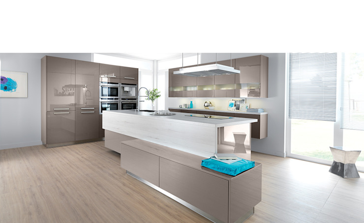 Modern open plan kitchen with island Schmidt Kitchens Barnet Moderne Küchen MDF Beige