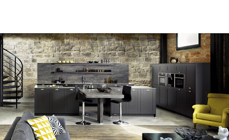 Open plan Shaker style classic modern kitchen with island and dining table Schmidt Kitchens Barnet Dapur Gaya Rustic MDF Grey