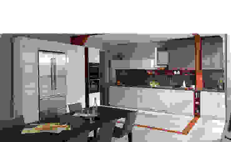White and brown colour scheme open plan kitchen with dining area Modern kitchen by Schmidt Kitchens Barnet Modern Chipboard