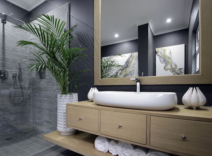 Bathroom 2 JSD Interiors Eclectic style bathrooms Wood Grey