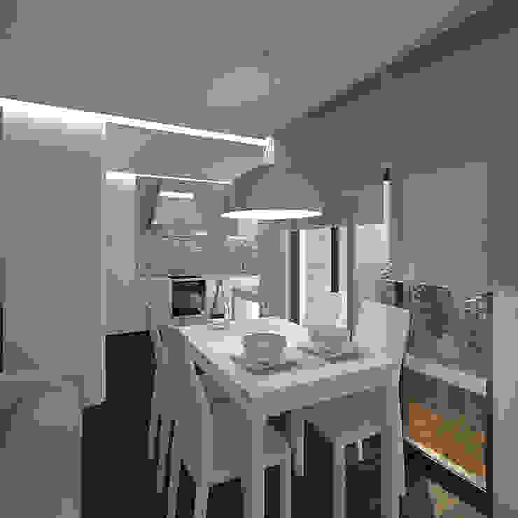 Reformulaçao de um apartamento no centro historico Salas de jantar minimalistas por 2L'atelier arquitectos Minimalista