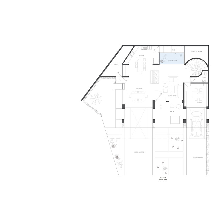 Planos Planta baja de DOSA studio Moderno