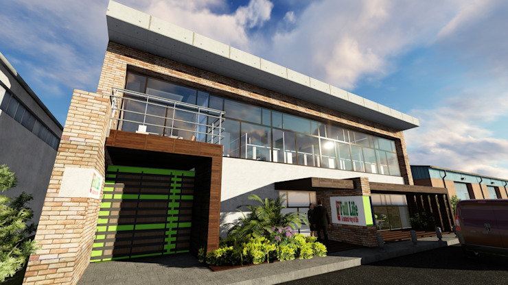 Proyecto para Laboratorio en Miami 03 Garajes y galpones industriales de Ghalmaca Arquitectura Industrial Concreto