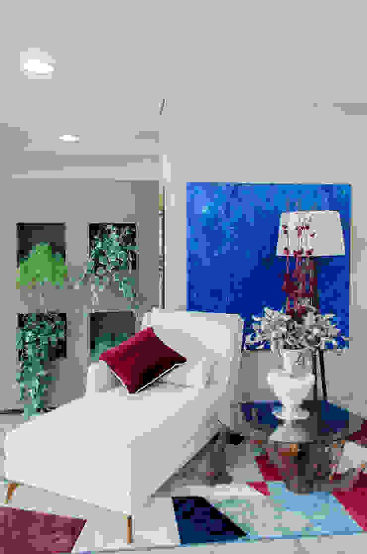 Chaise por Sgabello Interiores Moderno Algodão Vermelho