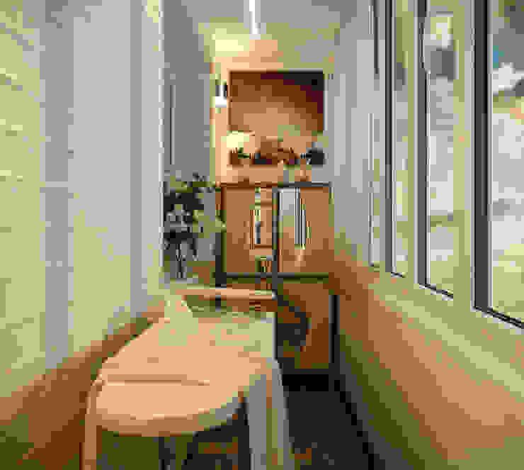 Дизайн балкона в ЖК по ул. Казбекская Терраса в средиземноморском стиле от Студия интерьерного дизайна happy.design Средиземноморский