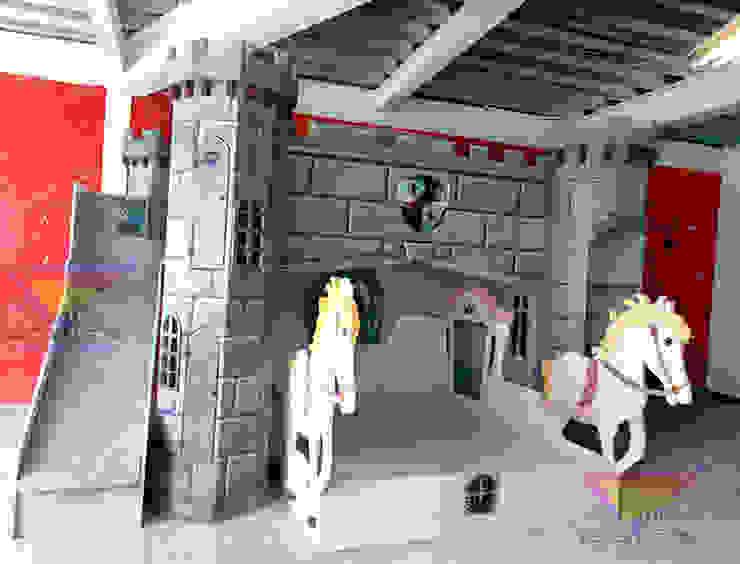 Litera unisex con castillo Medieval y Carroza de Kids Wolrd- Recamaras Literas y Muebles para niños Clásico Derivados de madera Transparente