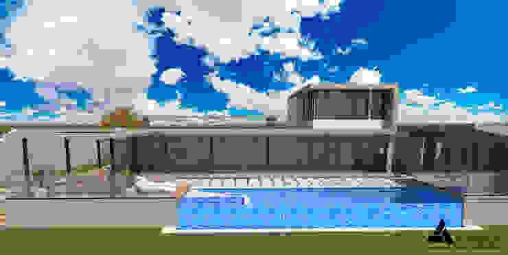 Render Vista Principal Casas modernas de Atahualpa 3D Moderno