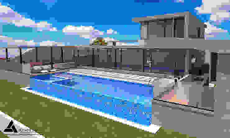 Render Vista Lateral - Terraza Casas modernas de Atahualpa 3D Moderno