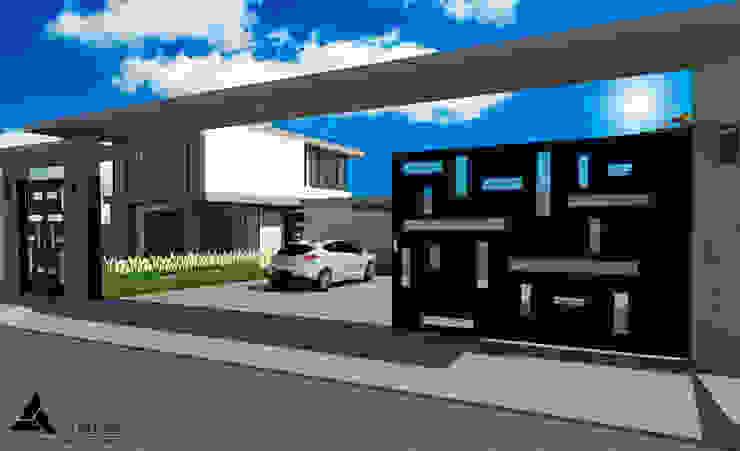 Render Vista Fachada Posterior Casas modernas de Atahualpa 3D Moderno