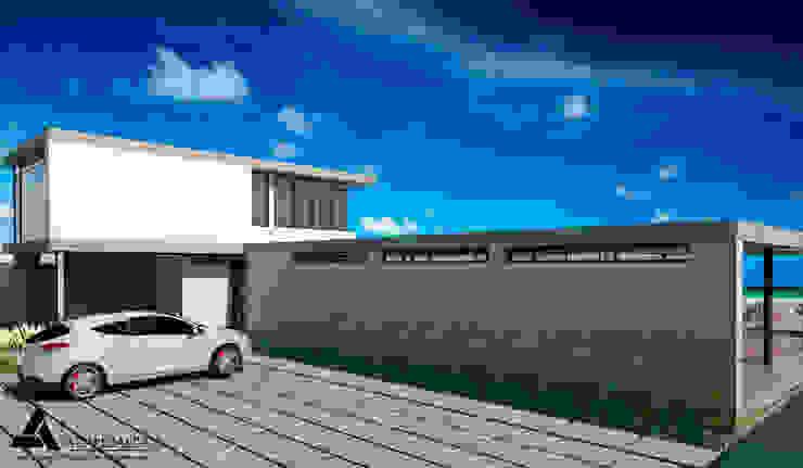 Render Vista Posterior Casas modernas de Atahualpa 3D Moderno