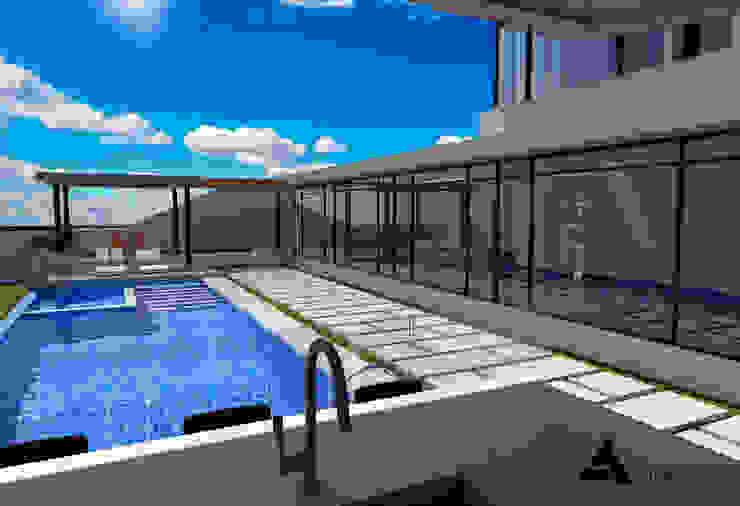 Render Vista Terraza Piscinas de estilo moderno de Atahualpa 3D Moderno