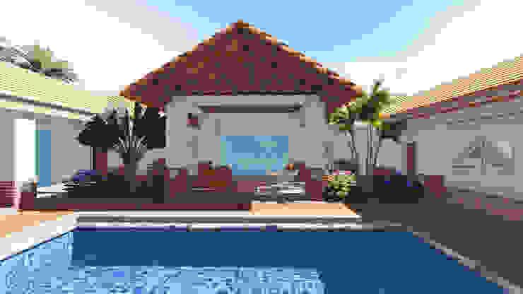 Casa RG - piscina, sala exterior, jardines. de ARQUITECTOnico